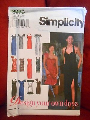 SIMPLICITY DESIGN YOUR OWN ELEGANT DRESS or GOWN PATTERN 8970 SIZE 4 6 8