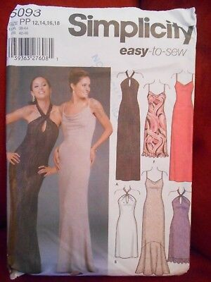 SIMPLICITY ELEGANT COCKTAIL DRESS or GOWNS PATTERN 5093 SIZE 12 14 16 18