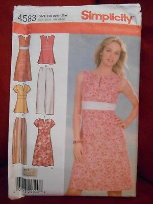 Simplicity Dress Or Top & Cropped Pants Pattern 4583 Size 20W - 28W