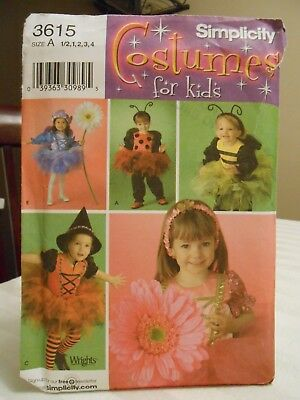 SIMPLICITY TODDLERS LADY BUG BUMBLE BEE WITCH COSTUME PATTERN 3615 SZ 6 mths - 4