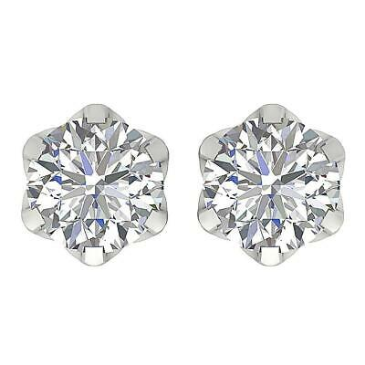 Solitaire Studs Earrings 0.85 Ct I1 G Genuine Diamond 14K White Gold Screw Back
