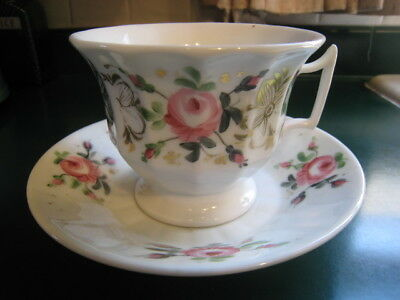 Antique Hand Painted Rose Jumbo Staffordshire Gothic Coffee Mug Cup & Saucer