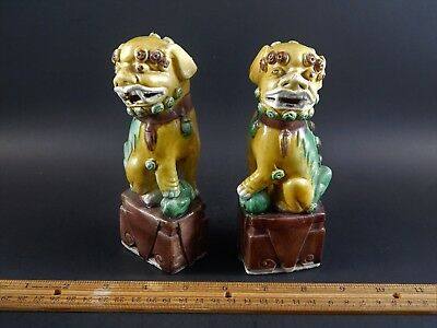 Antique Chinese Export Sancai Glazed Biscuit Porcelain Buddhistic Foo Lions 6""