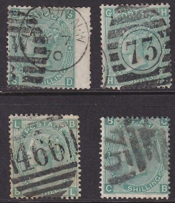 1867/80 Queen Victoria 1/- Green Sg117 Set Of 4 Plates 4 - 7 Used