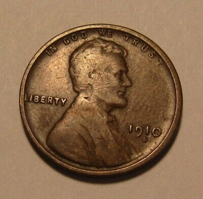 1910 S Lincoln Cent Penny - Fine Condition - 3FR