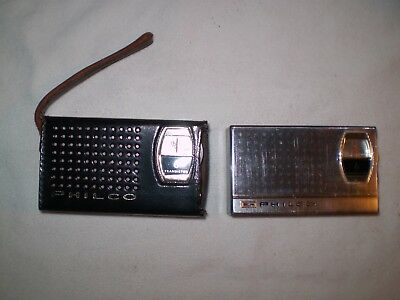 Philco model T-67GP 6 Transistor am radio Pair with Leather carry case