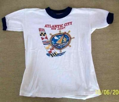 VTG 1950s Ringer T Shirt  Atlantic City 100% Cotton   New Jersey  Boys Small