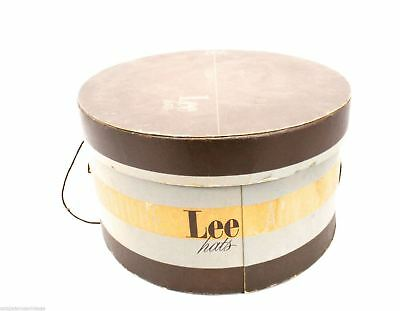 """Lee Hatbox Mens Oval Brown Gray Vintage Early 1940s 14"""" x 7"""" Adventure"""
