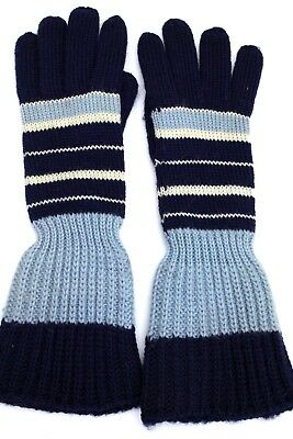 Vintage Childrens Striped Gloves Hand Knit Long 1940S