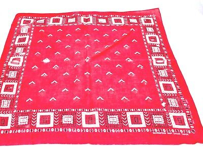 Vintage Tuside color Fast Color Bandana Red 100% Cotton 1950s