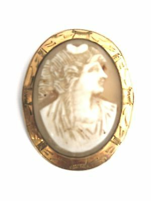 Antique Victorian Pink Shell Cameo Gold GF  Italian Lady Profile As Found