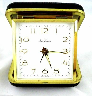 Seth Thomas Travel Alarm Clock Vintage  1960s in Case Timepiece Folding