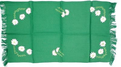 """Antique Runner Arts & Crafts Kelly Green & Daisies Appliques 29"""" long Floral"""