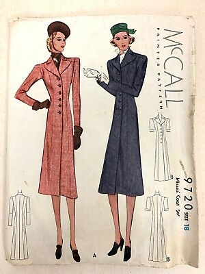 Sewing Pattern McCall #9720 Size 18 Misses Coat No Instructions 1930s 1938