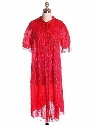 Vintage Robe Cherry Red  Silver Lace Nylon Chiffon  Bust 40 1950s