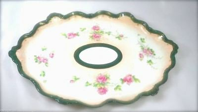 Antique Victorian Porcelain Dish Large w Pink Handpainted Roses Scalloped Edge