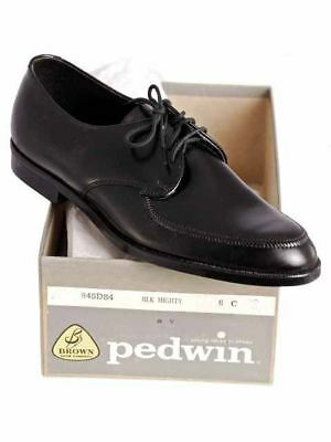 Vintage Boys Black Oxford Pointed Toe Leather Shoes NIB