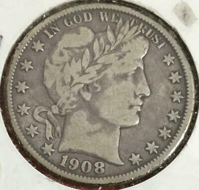 1908OUS Barber SILVER Half Dollar! FINE! Old US Coin! Nice!