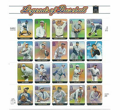 Stamps USPS Scott 3408 Sheet MNH 2000 Legends Of Baseball 20x33
