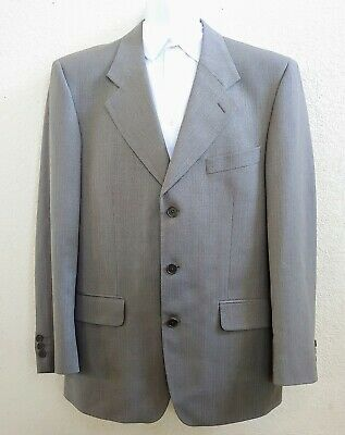 YVES SAINT LAURENT Men's Sz 40 R Stone Gray Fine Herringbone Worsted Wool Blazer
