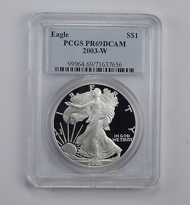 PROOF - PF-69 DCAM 2003-W American Silver Eagle 1 Oz - Graded By PCGS *658