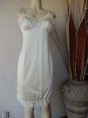 GREAT FIND!!! OPALAIRE ANTRON SEXY Ivory White NYLON LACY FULL SLIP Size 36