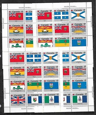pk42553:Stamps-Canada #832a Provincial Flags Plate Sheet Set-Mint Never Hinged