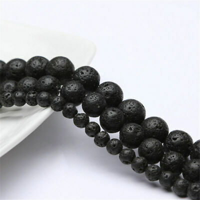 "4-16MM Natural Stone Round Black Volcanic Lava Rock Stone Beads 15"" Gift"