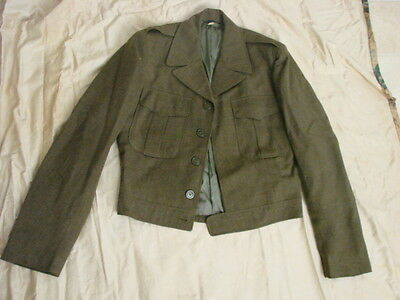 Vintage 40s Mens IKE Army Jacket Wool M 36 Waist Tabs Plastic Buttons