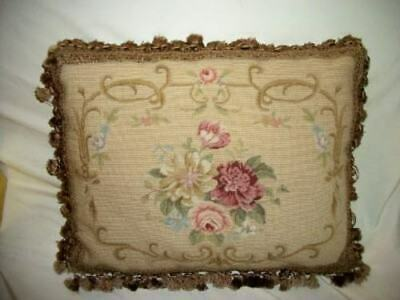 French Scroll Needlepoint Aubusson Pillow Roses Petit Point Stunning Paris Apt