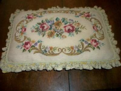 French Aubusson Needlepoint Feather Pillow Petit Point Huge Roses Vintage Chic