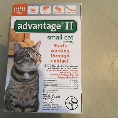 Bayer Advantage Ii Flea Control For Cats 5- 9 Lb 6 Pack, Usa Epa Approved 6 Dose