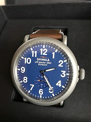 Rare Vintage Collectors Matte Stainless Steel Shinola Runwell 47Mm Blue Watch!