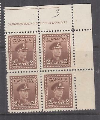 CANADA, 1942 KGVI, 2c. Brown, corner block of 4, imprint, mnh.