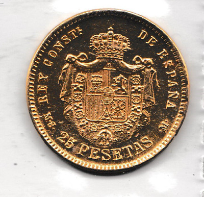 1890 SPAIN ALFONSO XII 25 PESETAS GOLD COIN BEAUTIFUL COIN  8.gms