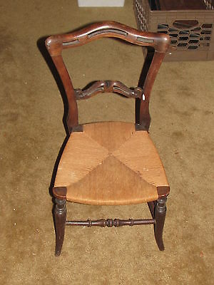 Vintage Child's Wooden Chair with rope seat For formal use