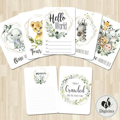 Baby, Milestone Cards Botanical Animal Wreath, 28 card pack, Baby Shower gift