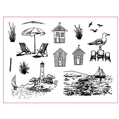 6*8inches Seaside Landscape Clear Stamps Scrapbooking Paper Cards Silicone Seals