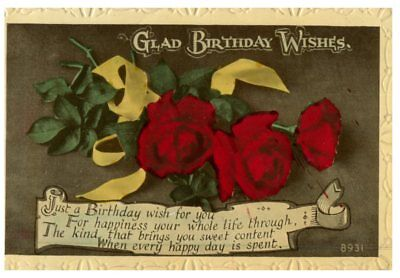 (PC22) very old postcard - Glad Birthday Wishes (flowers)