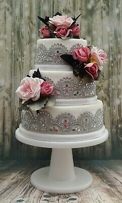 12 inch  WHITE PAINTED HAND MADE WOODEN PEDESTAL WEDDING CAKE STAND