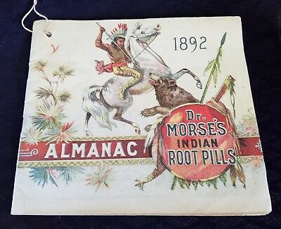 1892 Almanac Dr Morse's Indian Root Pills Indian Kill Bear Brooks Jefferson NH