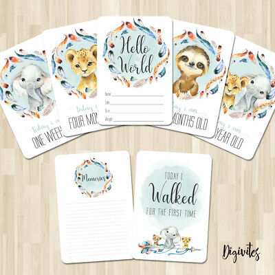 Baby, Milestone Cards Feathered Animal Tribal, 28 card pack, Baby Shower gift