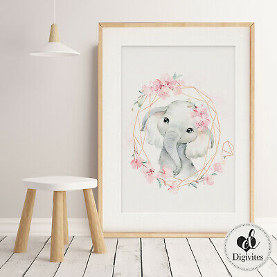 Baby, Girl Nursery Prints, Wall Art, Floral Boho animals, Personalised, Safari