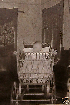 Antique Cabinet Photograph-Baby-Wicker Carriage-Buggy