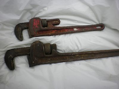 """Ridgid Pipe Wrench Set- 2 Drop Forged Steel Wrenches Early 18"""" and 14"""" GC!!!"""