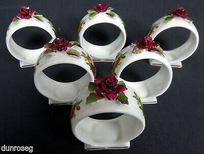 6 Old Country Roses Floral Napkin Rings, 1962-73, Made In England, Royal Albert