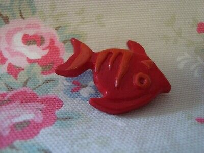 Large Red FISH Realistic Plastic Button