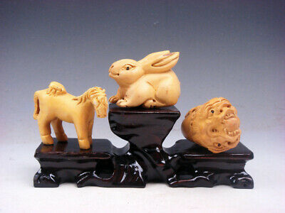 3 Japanese Boxwood Hand Carved *Horse Rabbit Dragon* Netsuke w/ Wooden Stand #S6