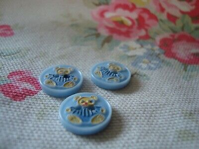 3 Vintage Childern  Plastic Buttons  - Painted Teddy Design
