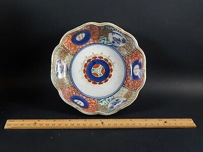 Antique Japanese Imari Porcelain Scalloped Bowl Chinese Asian Writing 19th C